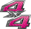 4x4 ATV Truck or SUV Bedside or Fender Decals in Pink Diamond Plate