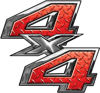 4x4 ATV Truck or SUV Bedside or Fender Decals in Red Diamond Plate