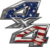 4x4 ATV Truck or SUV Bedside or Fender Decals with American Flag
