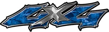 Twisted Series 4x4 Truck Bedside or Fender Emblem Decals in Blue Camouflage