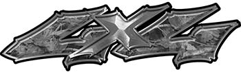 Twisted Series 4x4 Truck Bedside or Fender Emblem Decals in Gray Camouflage