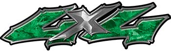 Twisted Series 4x4 Truck Bedside or Fender Emblem Decals in Green Camouflage