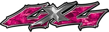 Twisted Series 4x4 Truck Bedside or Fender Emblem Decals in Pink Camouflage