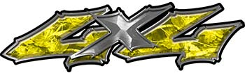 Twisted Series 4x4 Truck Bedside or Fender Emblem Decals in Yellow Camouflage