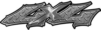 Twisted Series 4x4 Truck Bedside or Fender Emblem Decals in Diamond Plate