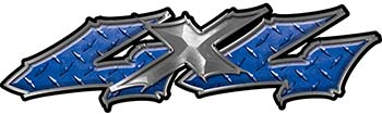 Twisted Series 4x4 Truck Bedside or Fender Emblem Decals in Blue Diamond Plate