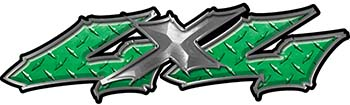 Twisted Series 4x4 Truck Bedside or Fender Emblem Decals in Green Diamond Plate