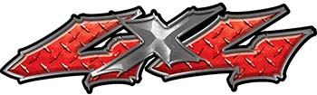 Twisted Series 4x4 Truck Bedside or Fender Emblem Decals in Red Diamond Plate