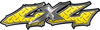 Twisted Series 4x4 Truck Bedside or Fender Emblem Decals in Yellow Diamond Plate