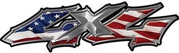 Twisted Series 4x4 Truck Bedside or Fender Emblem Decals with American Flag