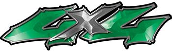 Twisted Series 4x4 Truck Bedside or Fender Emblem Decals in Green