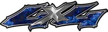 Twisted Series 4x4 Truck Bedside or Fender Emblem Decals in Blue Inferno