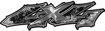 Twisted Series 4x4 Truck Bedside or Fender Emblem Decals in Gray Inferno