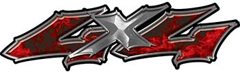 Twisted Series 4x4 Truck Bedside or Fender Emblem Decals in Red Inferno