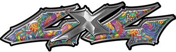 Twisted Series 4x4 Truck Bedside or Fender Emblem Decals with Psychedelic Art