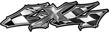 Twisted Series 4x4 Truck Bedside or Fender Emblem Decals with Checkered Racing Victory Lap Flag
