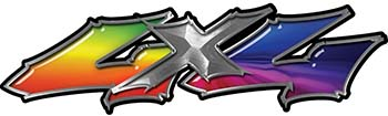 Twisted Series 4x4 Truck Bedside or Fender Emblem Decals with Rainbow Colors