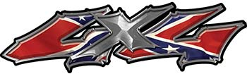 Twisted Series 4x4 Truck Bedside or Fender Emblem Decals with Confederate Rebel Flag