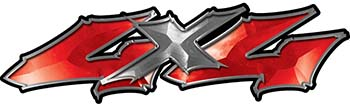 Twisted Series 4x4 Truck Bedside or Fender Emblem Decals in Red