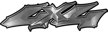 Twisted Series 4x4 Truck Bedside or Fender Emblem Decals in Silver