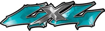 Twisted Series 4x4 Truck Bedside or Fender Emblem Decals in Teal