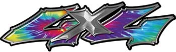 Twisted Series 4x4 Truck Bedside or Fender Emblem Decals in Tie Dye Colors