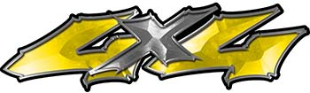 Twisted Series 4x4 Truck Bedside or Fender Emblem Decals in Yellow