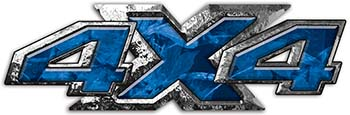 4x4 ATV Truck or SUV Bedside or Fender Decals in Blue Camouflage