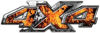 4x4 ATV Truck or SUV Bedside or Fender Decals in Inferno Flames