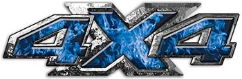 4x4 ATV Truck or SUV Bedside or Fender Decals in Blue Inferno Flames