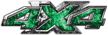 4x4 ATV Truck or SUV Bedside or Fender Decals in Green Inferno Flames