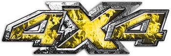 4x4 ATV Truck or SUV Bedside or Fender Decals in Yellow Inferno Flames