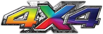 4x4 ATV Truck or SUV Bedside or Fender Decals with Rainbow Colors