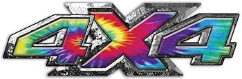 4x4 ATV Truck or SUV Bedside or Fender Decals in Tie Dye Colors