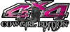 Cowgirl Edition with Boots 4x4 ATV Truck or SUV Vehicle Decal / Sticker Kit in Pink with Horses