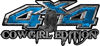 Cowgirl Edition with Boots 4x4 ATV Truck or SUV Vehicle Decal / Sticker Kit in Blue Camouflage