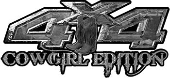 Cowgirl Edition with Boots 4x4 ATV Truck or SUV Vehicle Decal / Sticker Kit in Gray Camouflage