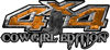 Cowgirl Edition with Boots 4x4 ATV Truck or SUV Vehicle Decal / Sticker Kit in Orange Camouflage