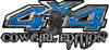 Cowgirl Edition with Boots 4x4 ATV Truck or SUV Vehicle Decal / Sticker Kit in Blue Diamond Plate