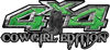 Cowgirl Edition with Boots 4x4 ATV Truck or SUV Vehicle Decal / Sticker Kit in Green Diamond Plate