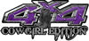 Cowgirl Edition with Boots 4x4 ATV Truck or SUV Vehicle Decal / Sticker Kit in Purple Diamond Plate