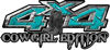 Cowgirl Edition with Boots 4x4 ATV Truck or SUV Vehicle Decal / Sticker Kit in Teal Diamond Plate