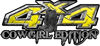 Cowgirl Edition with Boots 4x4 ATV Truck or SUV Vehicle Decal / Sticker Kit in Yellow Diamond Plate
