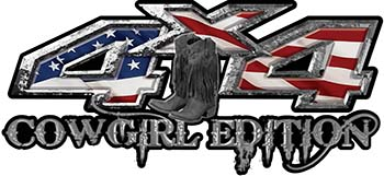 Cowgirl Edition with Boots 4x4 ATV Truck or SUV Vehicle Decal / Sticker Kit with American Flag