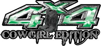 Cowgirl Edition with Boots 4x4 ATV Truck or SUV Vehicle Decal / Sticker Kit in Green