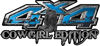 Cowgirl Edition with Boots 4x4 ATV Truck or SUV Vehicle Decal / Sticker Kit in Blue with Horses