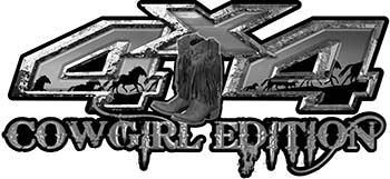 Cowgirl Edition with Boots 4x4 ATV Truck or SUV Vehicle Decal / Sticker Kit in Gray with Horses