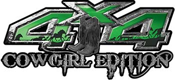 Cowgirl Edition with Boots 4x4 ATV Truck or SUV Vehicle Decal / Sticker Kit in Green with Horses