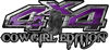 Cowgirl Edition with Boots 4x4 ATV Truck or SUV Vehicle Decal / Sticker Kit in Purple with Horses