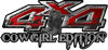 Cowgirl Edition with Boots 4x4 ATV Truck or SUV Vehicle Decal / Sticker Kit in Red with Horses